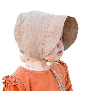 Puffin Gear Infant and Toddler Linen Tweed Bonnet with Organic Flannel Lining-Made in Canada