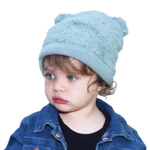 Puffin Gear Child and Infant Organic Cotton Sherpa Bear Beanie-Made in Canada