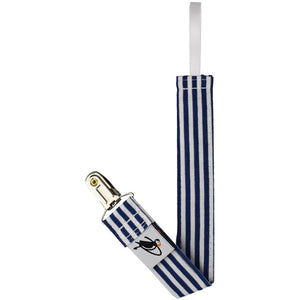 Puffin Gear Cotton Pacifier Clip-Blue Stripe-Made in Canada