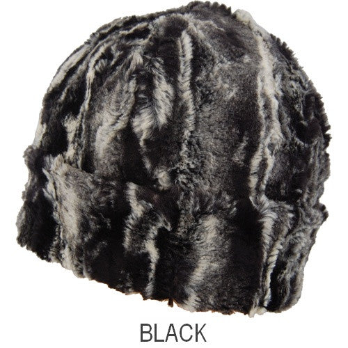 Puffin Gear Child Lodge Faux Fur Hat -black - Made in Canada