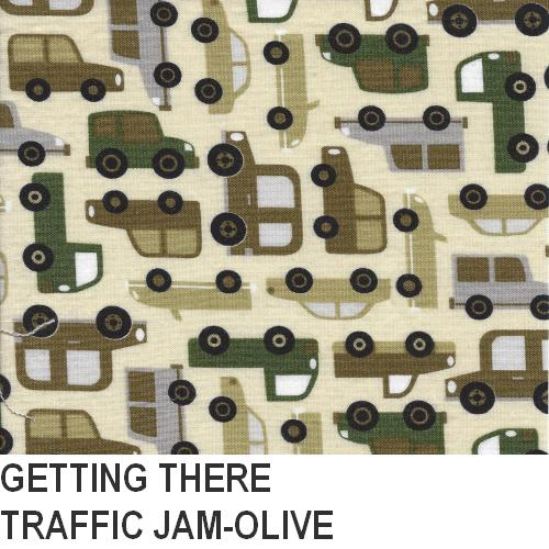 Puffin Gear Getting There Olive Traffic Jam Print