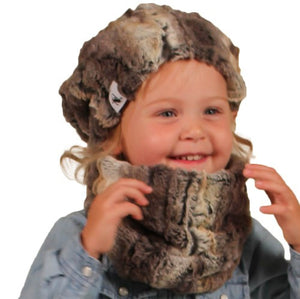 Puffin Gear Child Lodge Faux Fur Hat and Neck Warmer - Made in Canada