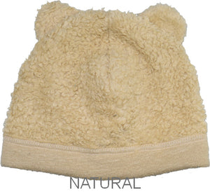 Puffin Gear Organic Cotton Sherpa Bear Beanie-Natural-Child and Infant-Made in Canada