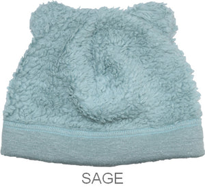 Puffin Gear Organic Cotton Sherpa Bear Beanie-Sage-Child and Infant-Made in Canada