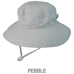 UPF 50+ Sun Protection-Puffin Gear Child Wide Brim Sunshine Hat-Made in Canada-Pebble