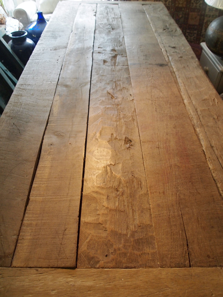 Large Reclaimed Oak Wooden Table With Benches
