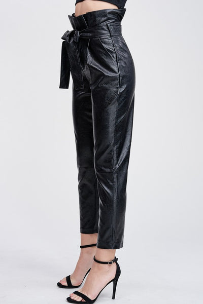 The Nina Leather Paperbag Pant