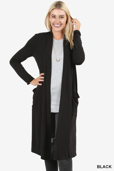 Basic Black Cardigan Duster