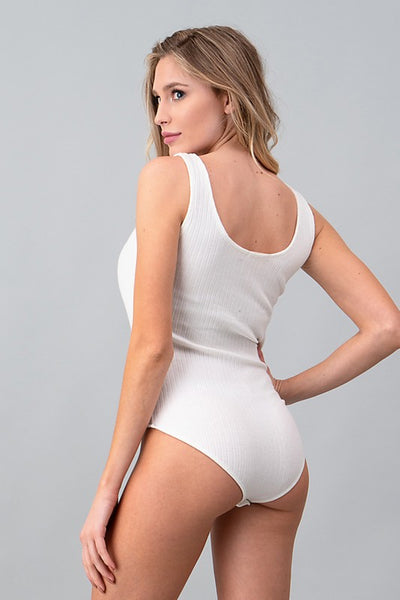 The Hailee Basic Bodysuit Tank in White