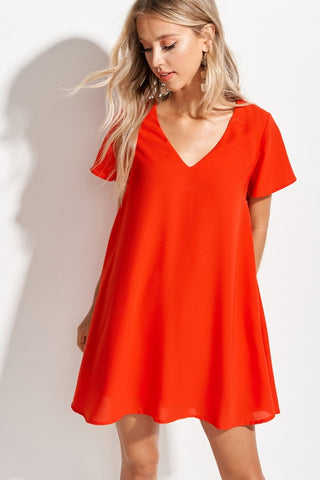 The Tawny Minidress in Coral