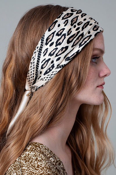 The Lily Leopard Scarf in Ivory