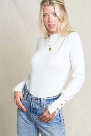 The Molly Mock Neck Top in Ivory