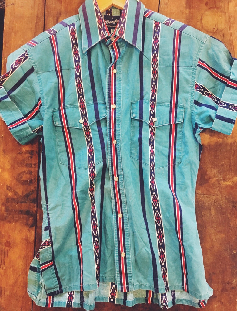 Mint Vintage Aztec Button Down - Sz S