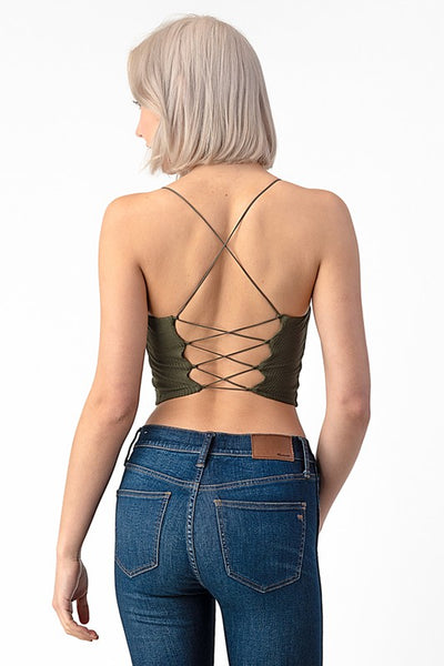 The Basic Strappy Bralette Top in Olive