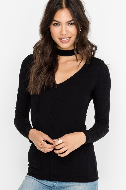 Basic Fall Choker Neck Top