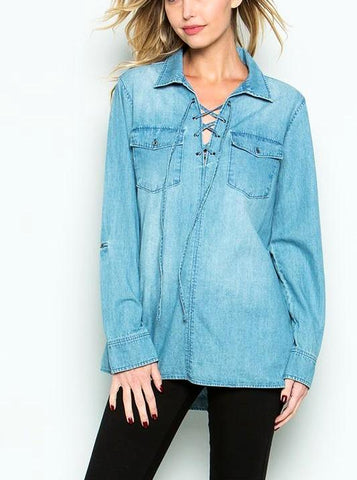 Denim Criss Cross Tunic