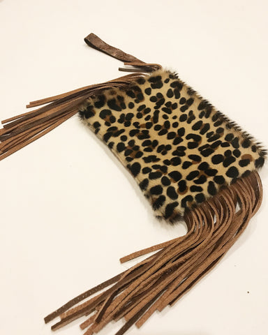 Cheetah Fringe Clutch