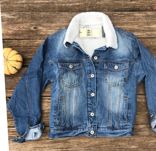 Denim Sherpa Bomber Jacket