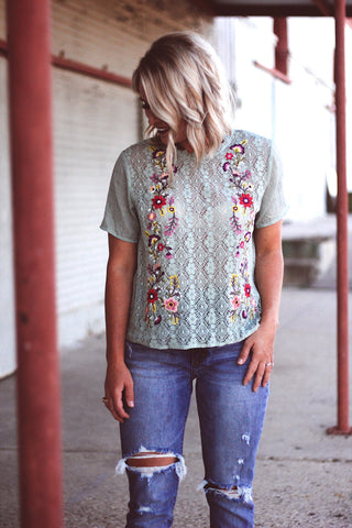 The Willa Embroidered Top in Mint