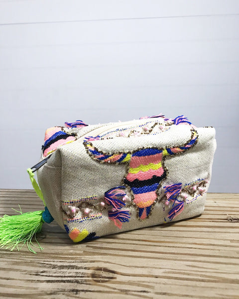 Embroidered Bull Skull Make-Up Bag