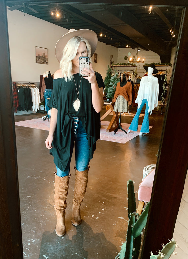 The Tawny Off Shoulder Tunic in Black