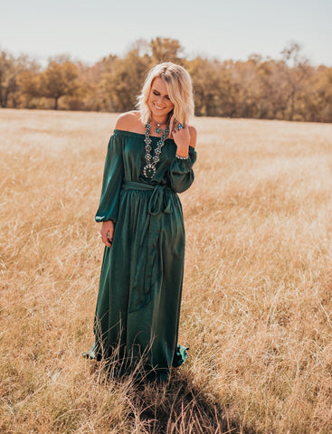 The Beiley Satin Maxi Dress In Hunter Green