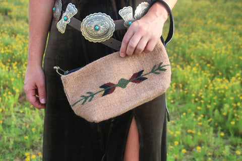 Autumn Earth Wool Wristlet Clutch