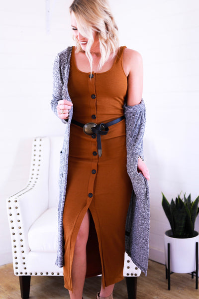 The Finley Basic Fall Dress in Rust