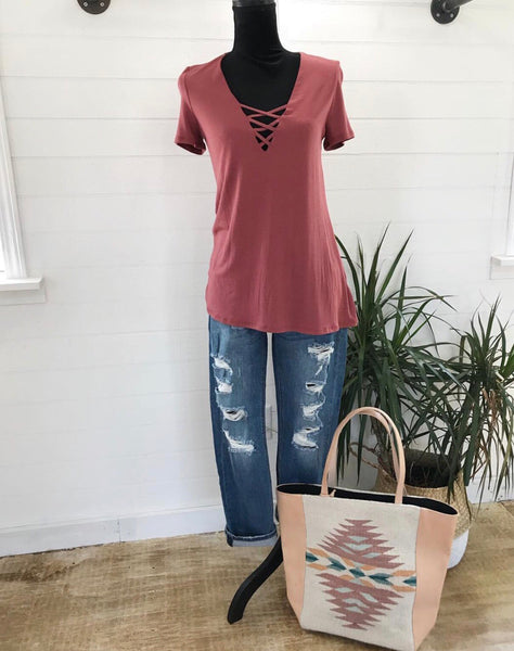 Mauve Criss Cross Tee