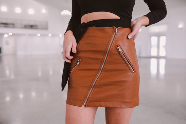 The Fay Leather Skirt