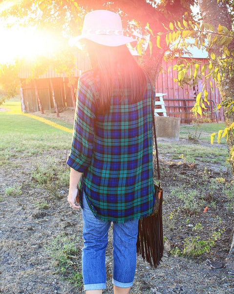 Green Plaid Lace up Tunic
