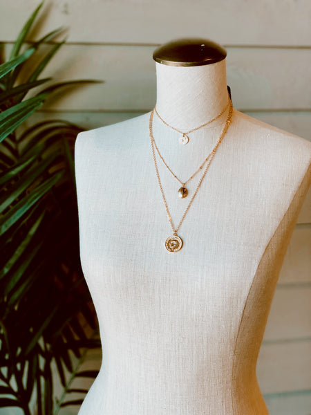 Three Row Coin Necklace