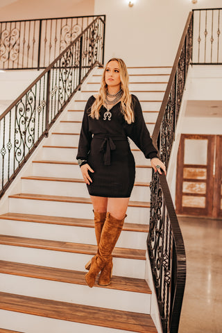 The Rana Sweater Dress in Black