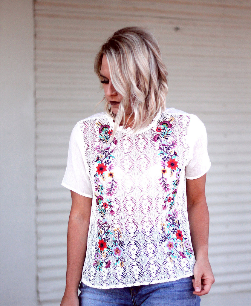 The Willa Embroidered Top in Ivory