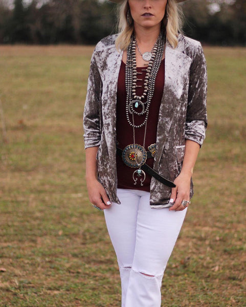 Crushed Velvet Blazer
