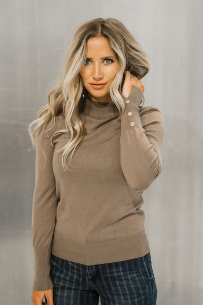 The Molly Mock Neck Top in Mocha
