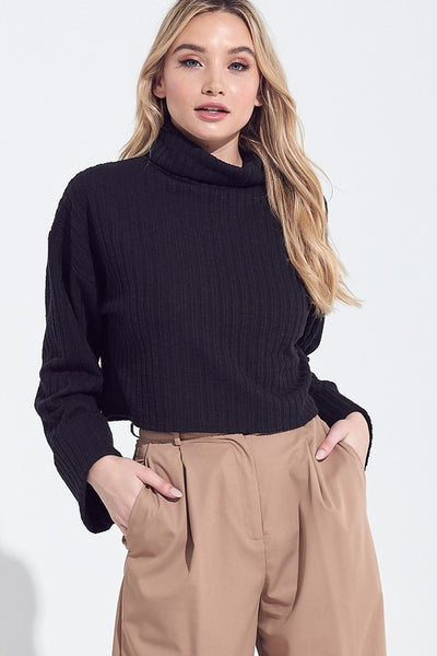 The Hoffman Cropped Sweater in Black