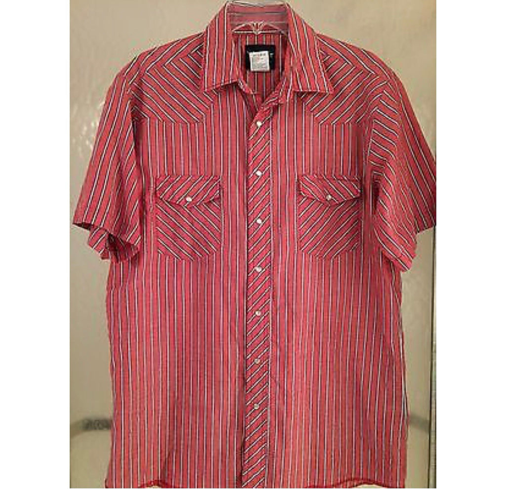 Vintage Salmon Striped Wrangler Button Down - Sz L