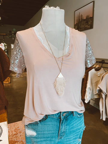 POL Sequin Sleeve Tee