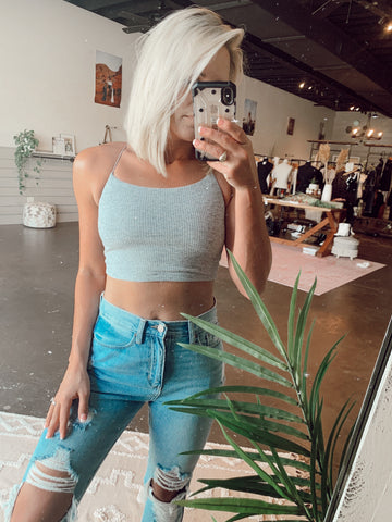 The Basic Strappy Bralette Top in Gray