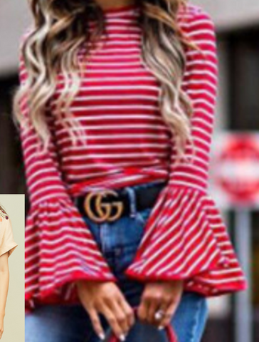 Red Striped Bell Sleeve