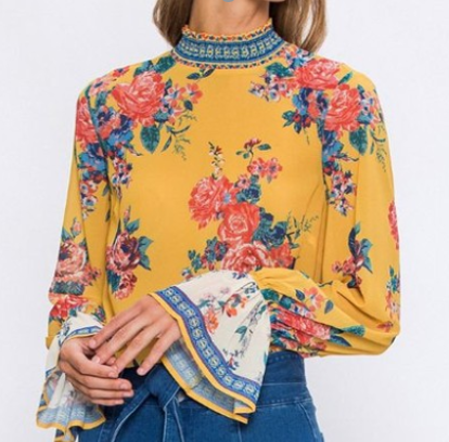 The Molly Yellow Mock Neck