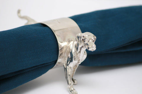 Silver dog napkin rings