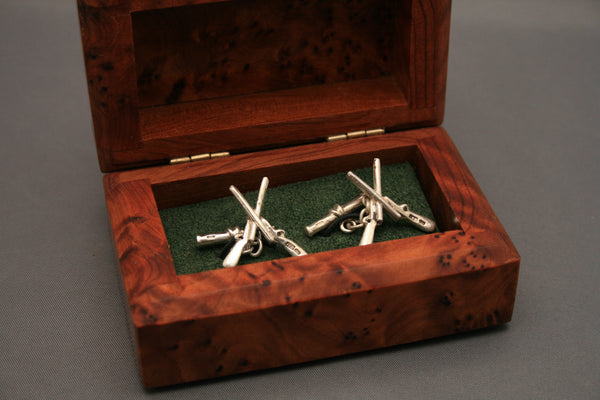 Crossed Guns Silver Cufflinks