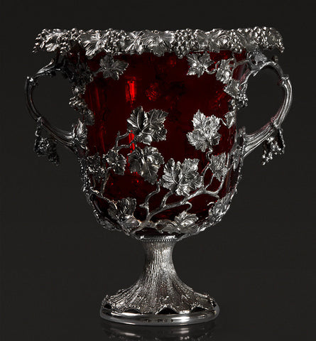 Silver and Cranberry Glass Wine Cooler