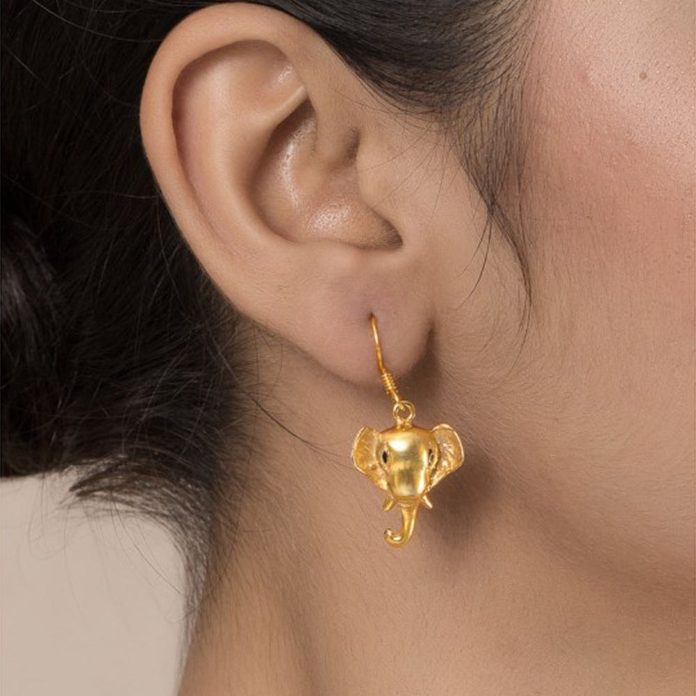 Ganesha Silver Earring Gold Plated