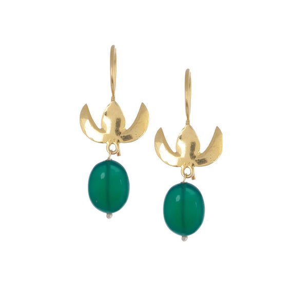 Floral Silver Green Drop Earring Gold Plated