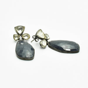 Iolite and Crystal Silver Earrings
