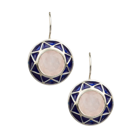 Rose Quartz Silver Enamelled Earrings