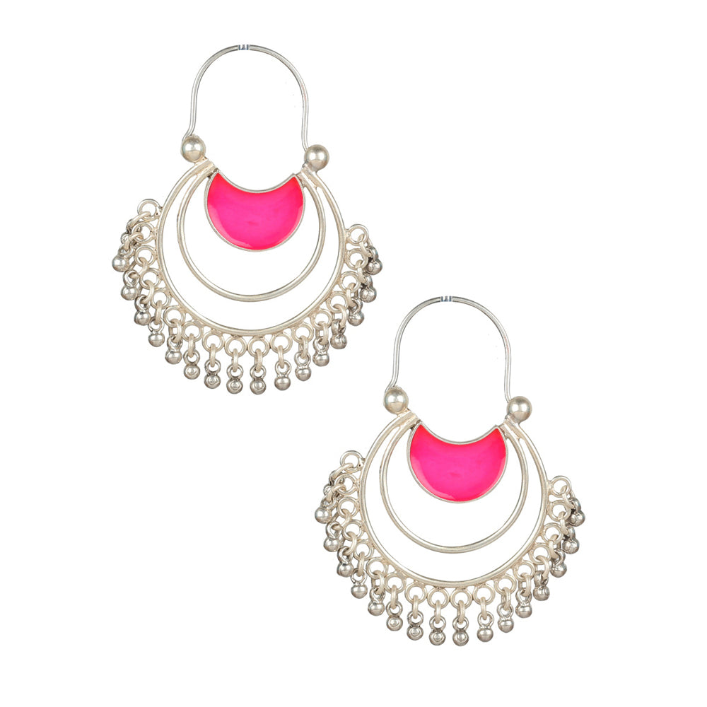 Classic Silver Enamel Earrings